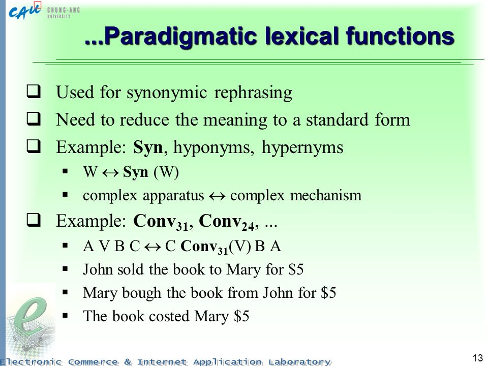 ...Paradigmatic lexical functions