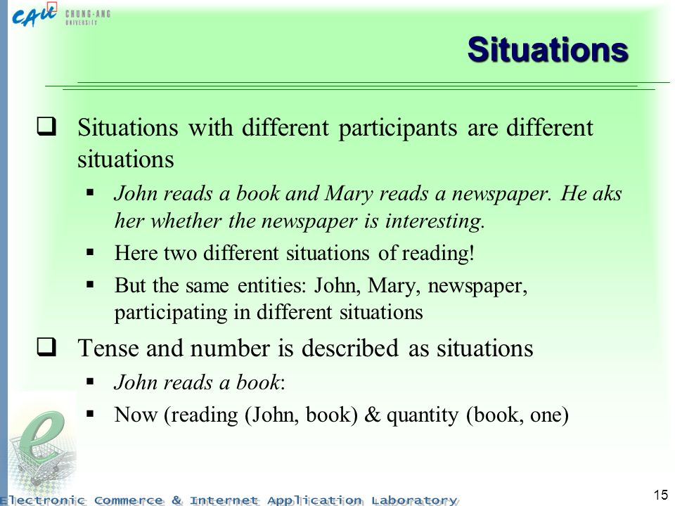 Situations Situations with different participants are different situations.