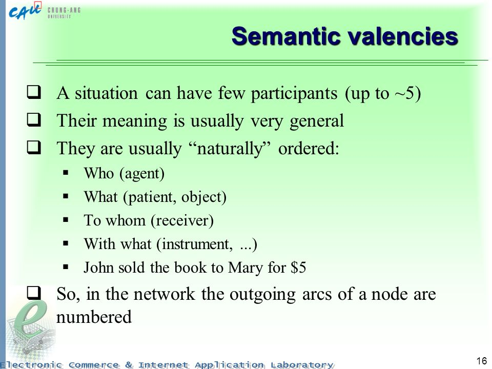 Semantic valencies A situation can have few participants (up to ~5)