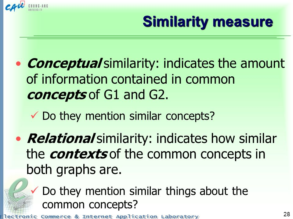 Similarity measure Conceptual similarity: indicates the amount of information contained in common concepts of G1 and G2.
