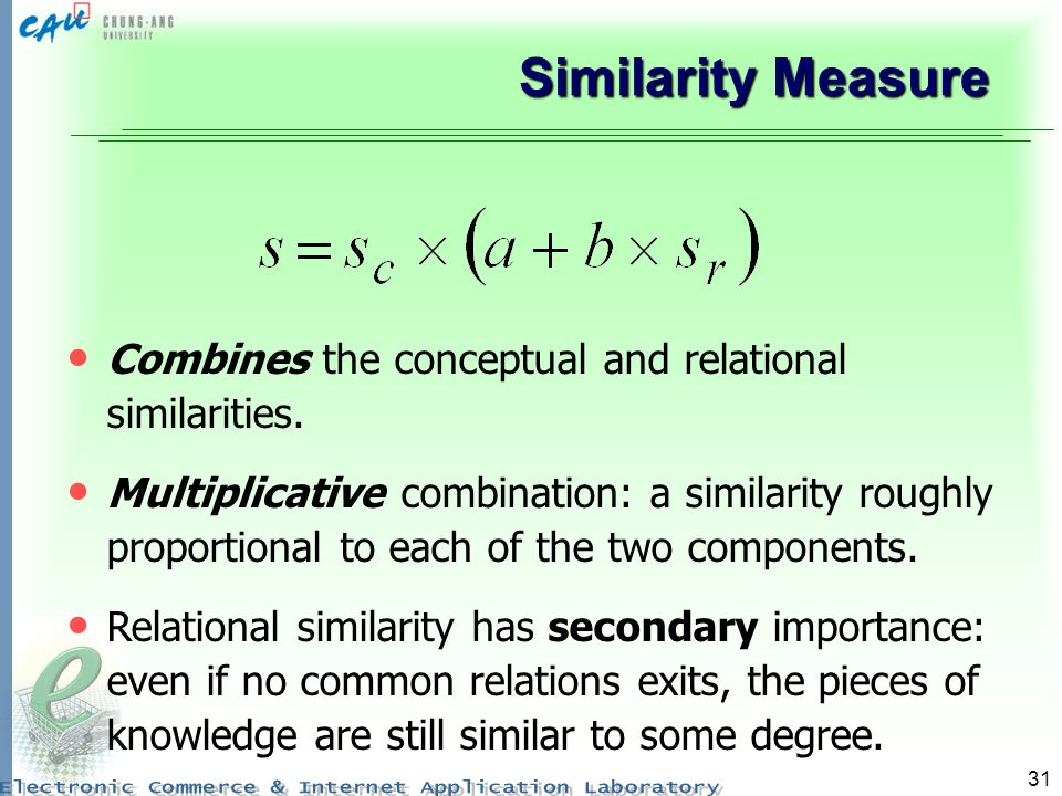 Similarity Measure Combines the conceptual and relational similarities.