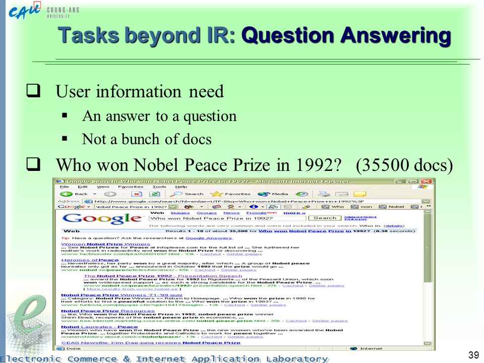 Tasks beyond IR: Question Answering