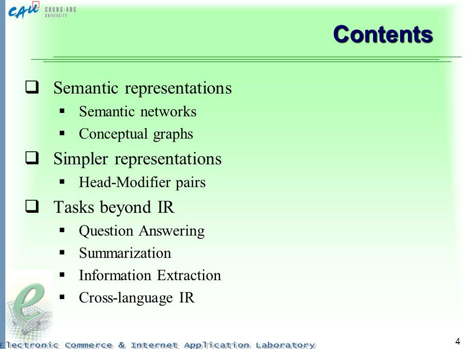 Contents Semantic representations Simpler representations
