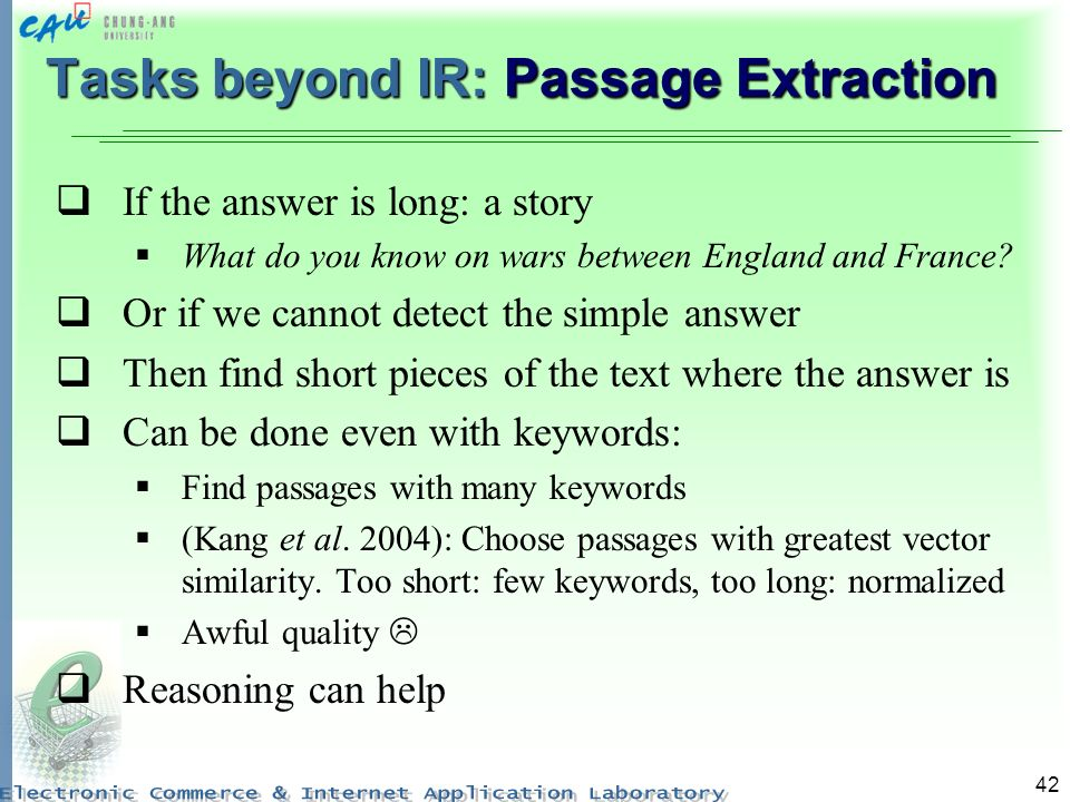 Tasks beyond IR: Passage Extraction