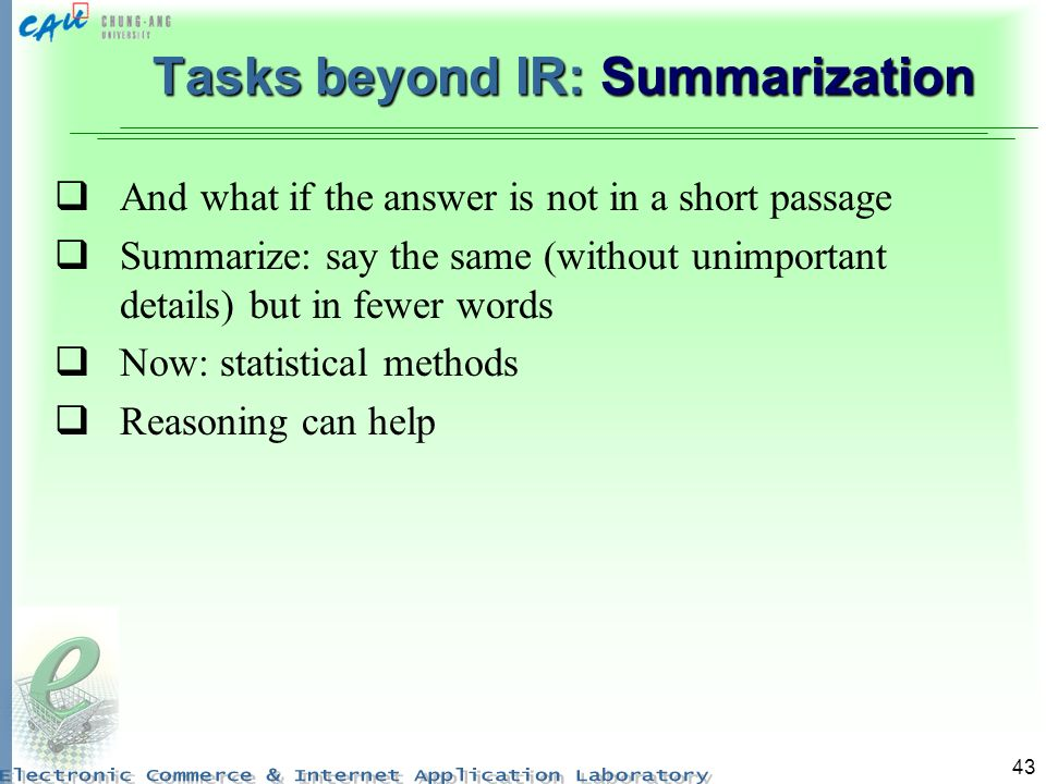 Tasks beyond IR: Summarization