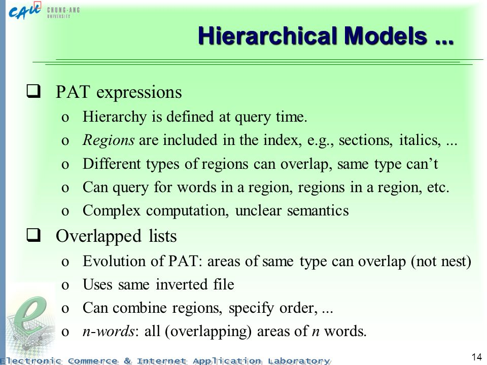 Hierarchical Models ... PAT expressions Overlapped lists