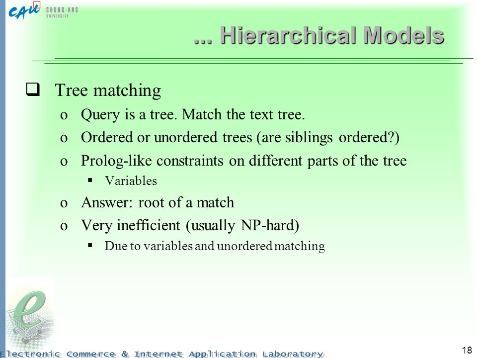 ... Hierarchical Models Tree matching