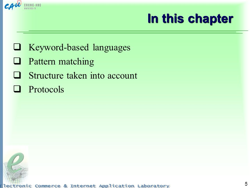 In this chapter Keyword-based languages Pattern matching