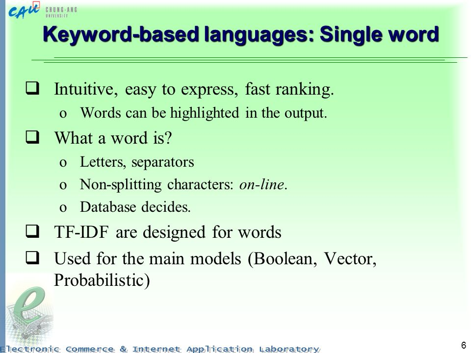 Keyword-based languages: Single word