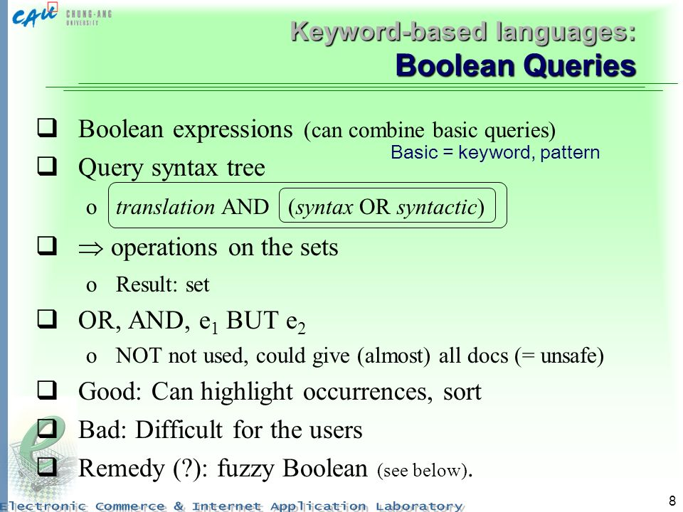 Keyword-based languages: Boolean Queries
