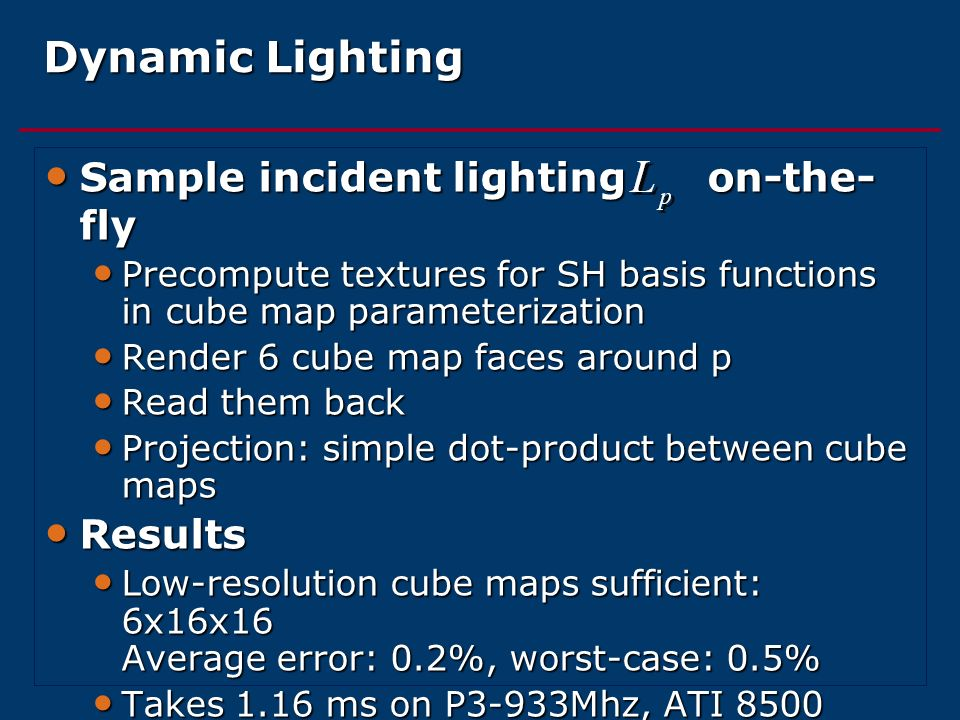 Dynamic Lighting Sample incident lighting on-the-fly Results