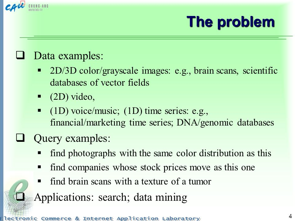 The problem Data examples: Query examples: