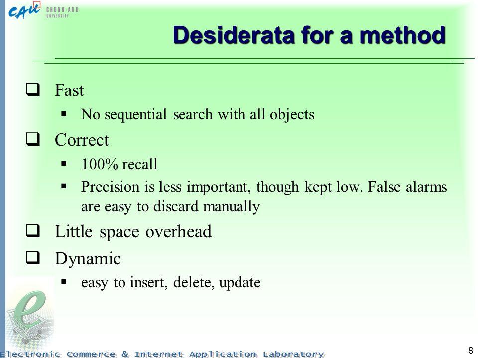 Desiderata for a method