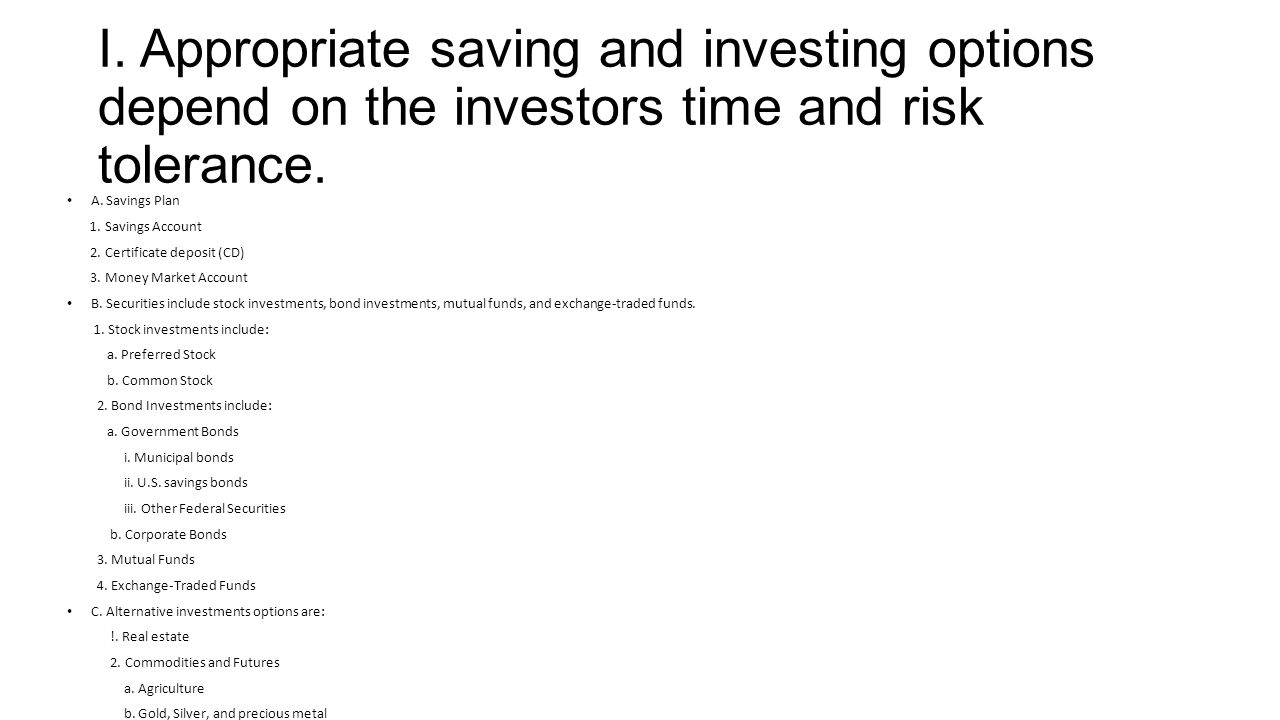 Principles of business and finance objective ppt video online download i appropriate saving and investing options depend on the investors time and risk tolerance 1betcityfo Images