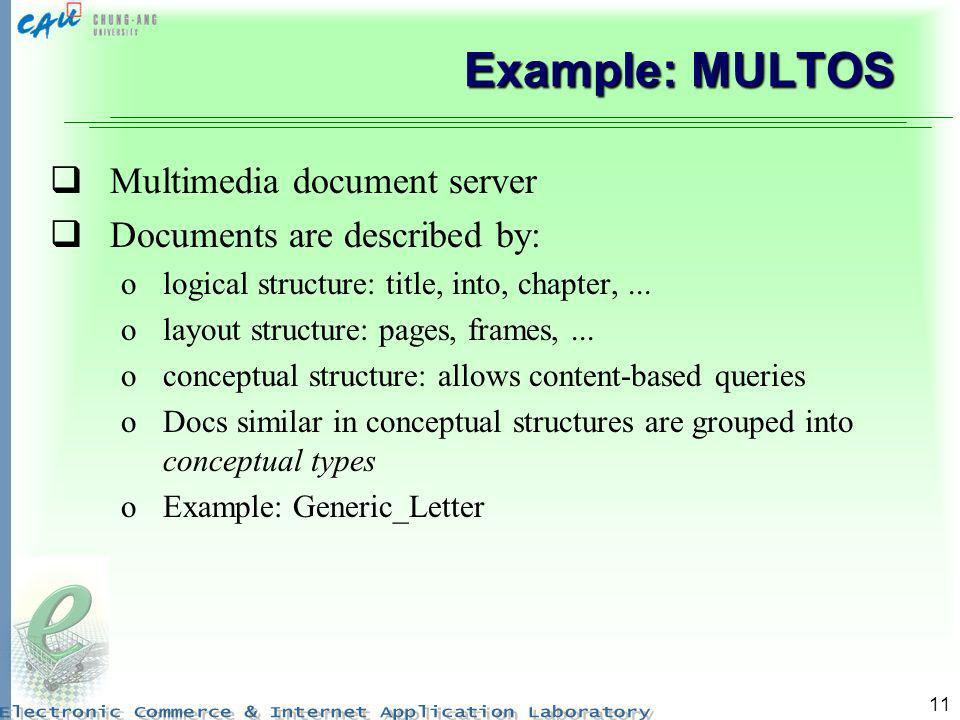 Example: MULTOS Multimedia document server Documents are described by: