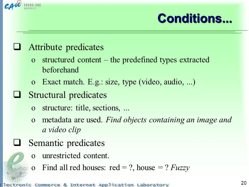 Conditions... Attribute predicates Structural predicates