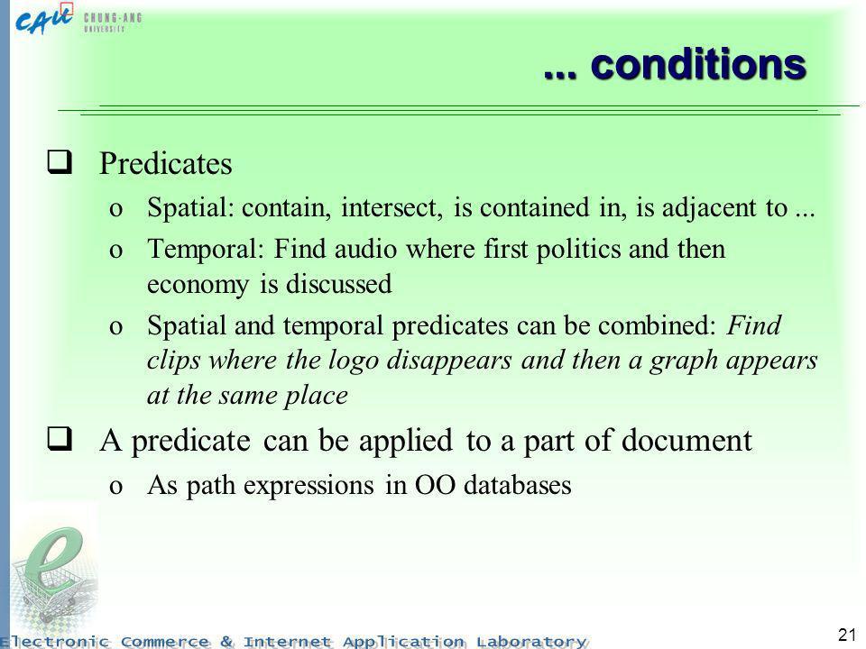 ... conditions Predicates