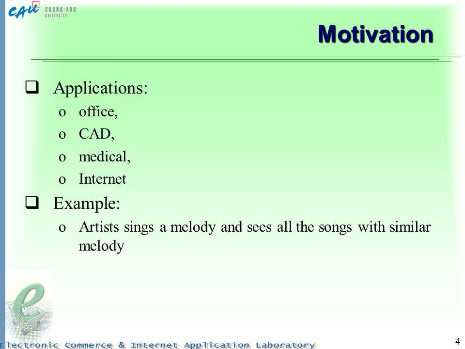 Motivation Applications: Example: office, CAD, medical, Internet