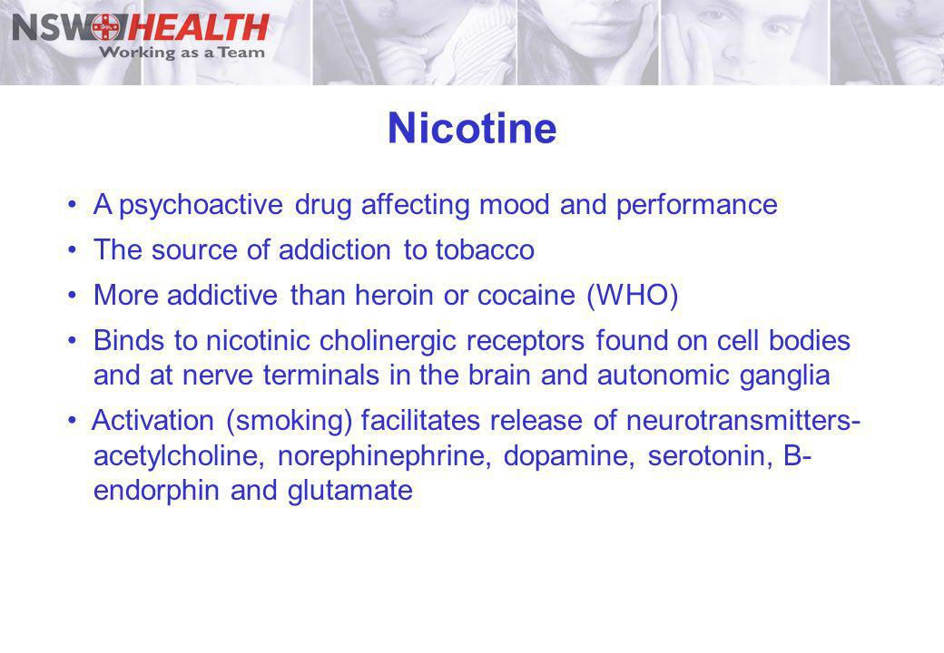 Nicotine A psychoactive drug affecting mood and performance