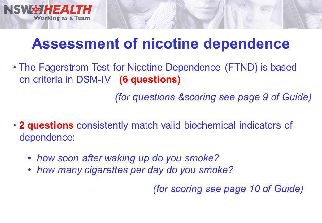 Assessment of nicotine dependence