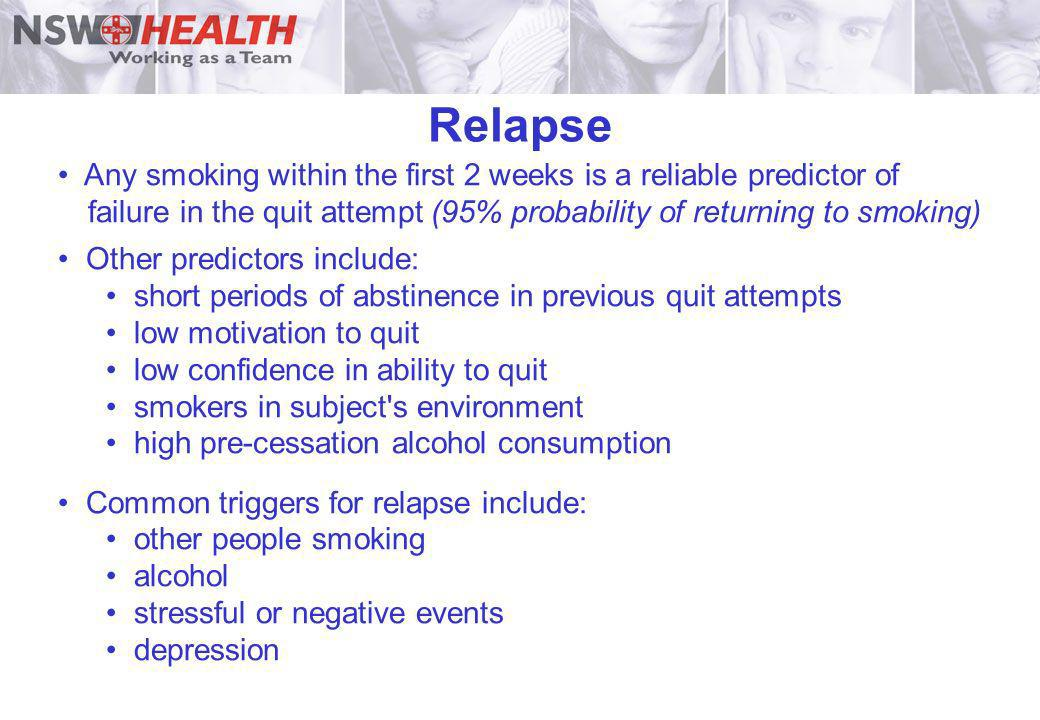 RelapseAny smoking within the first 2 weeks is a reliable predictor of failure in the quit attempt (95% probability of returning to smoking)