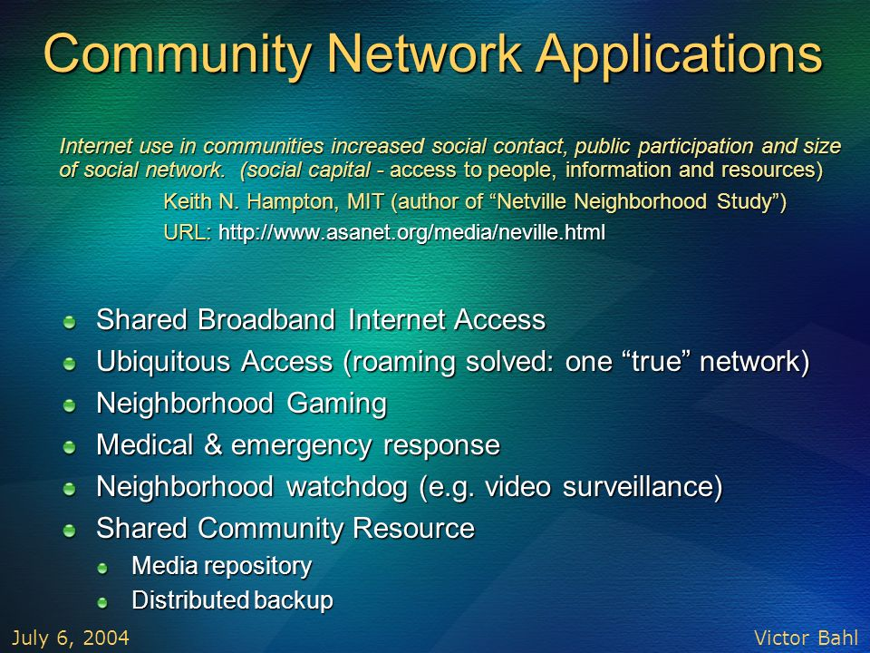 Community Network Applications