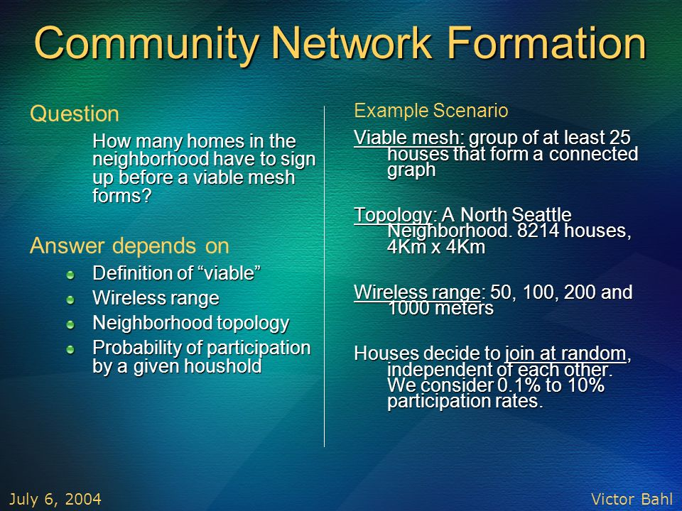 Community Network Formation