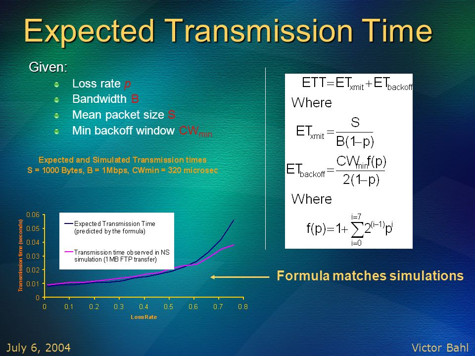 Expected Transmission Time