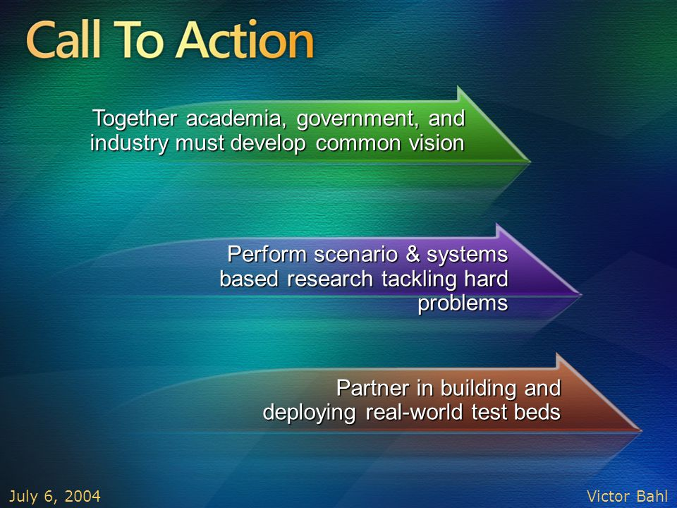 Call To Action Together academia, government, and industry must develop common vision.