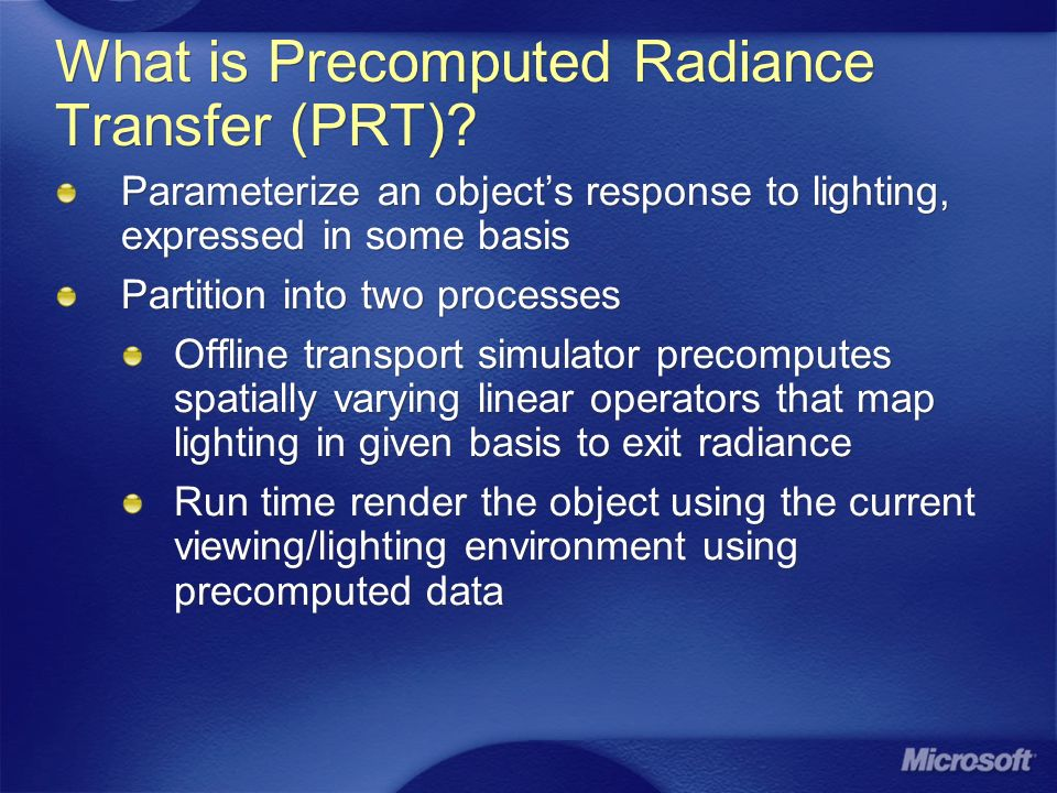 What is Precomputed Radiance Transfer (PRT)