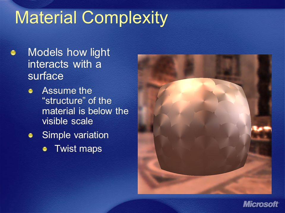 Material Complexity Models how light interacts with a surface