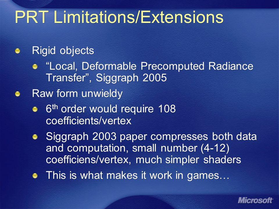 PRT Limitations/Extensions