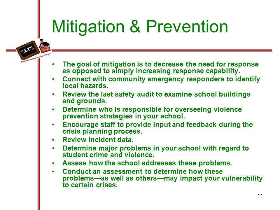 Prevention and mitigation analysis