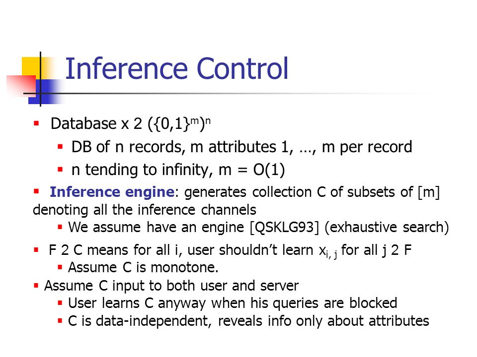 Inference Control Database x 2 ({0,1}m)n