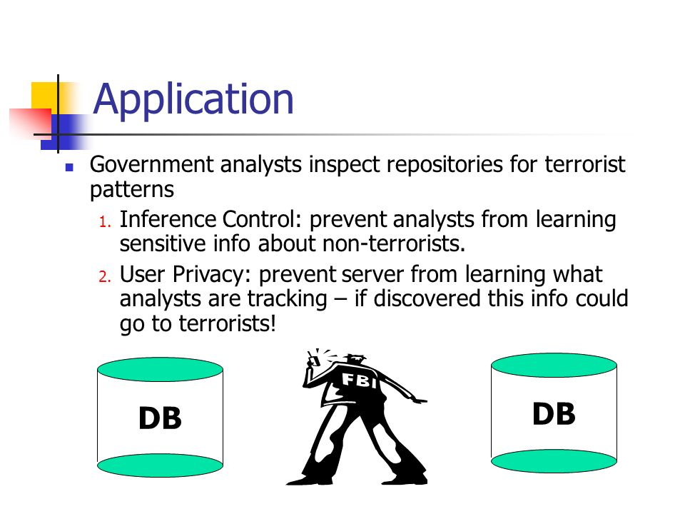 Application Government analysts inspect repositories for terrorist patterns.