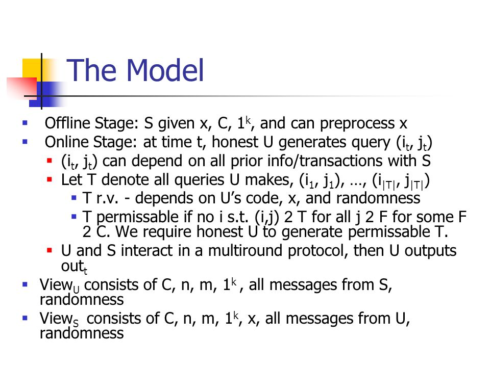 The Model Offline Stage: S given x, C, 1k, and can preprocess x