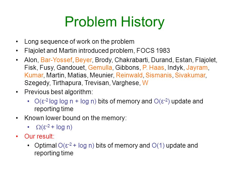 Problem History Long sequence of work on the problem