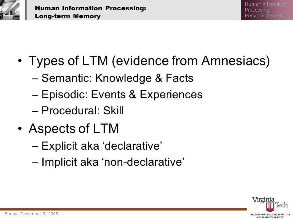 Human Information Processing: Long-term Memory