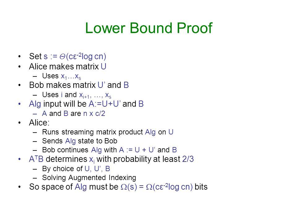 Lower Bound Proof Set s := £(cε-2log cn) Alice makes matrix U