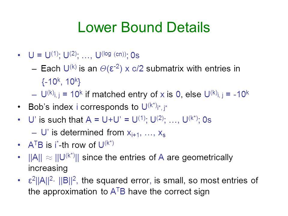 Lower Bound Details U = U(1); U(2); …, U(log (cn)); 0s