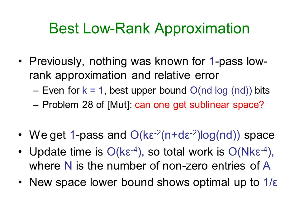Best Low-Rank Approximation