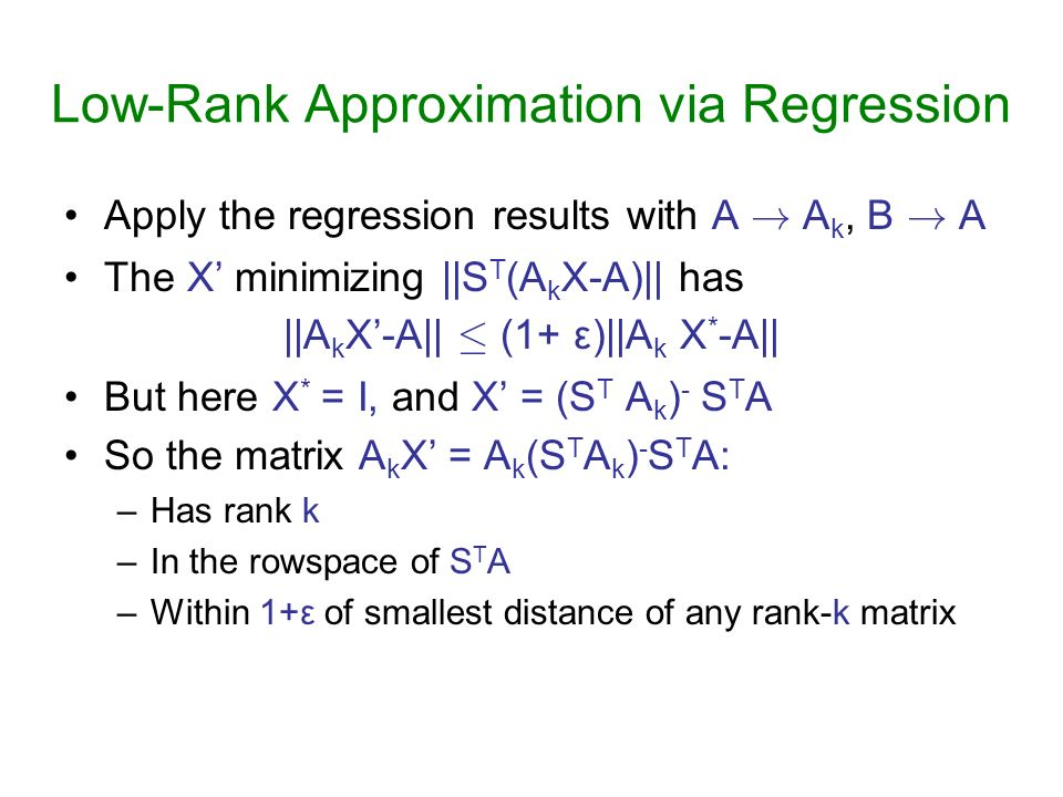 Low-Rank Approximation via Regression