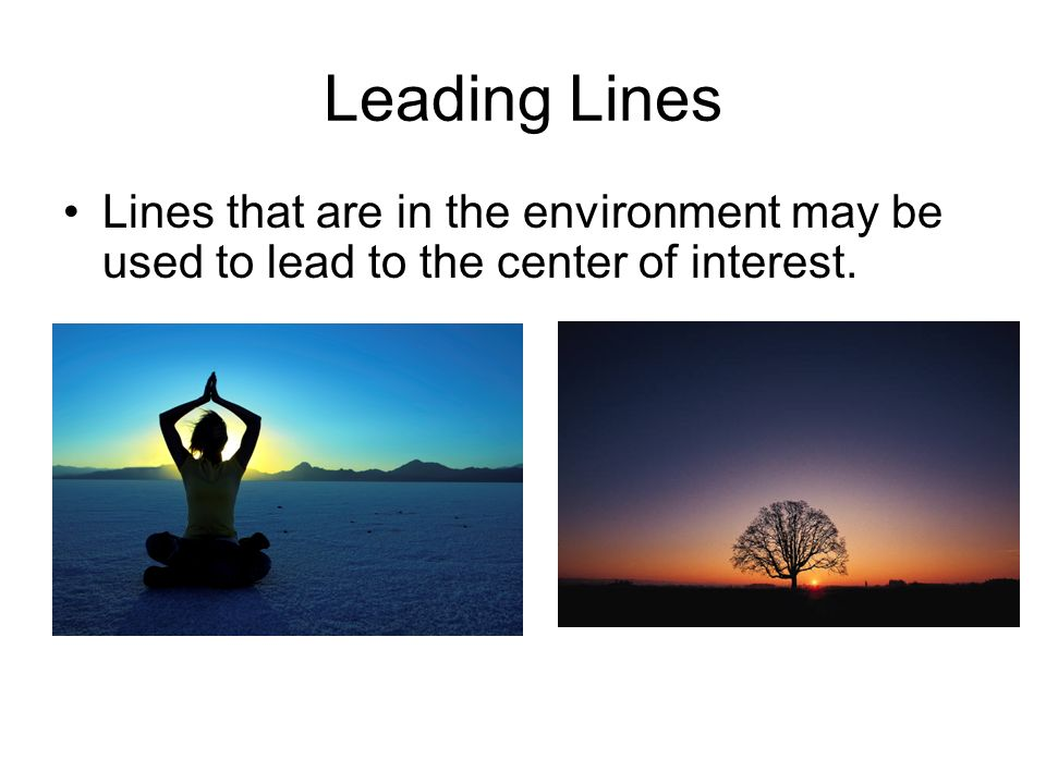 Leading Lines Lines that are in the environment may be used to lead to the center of interest.