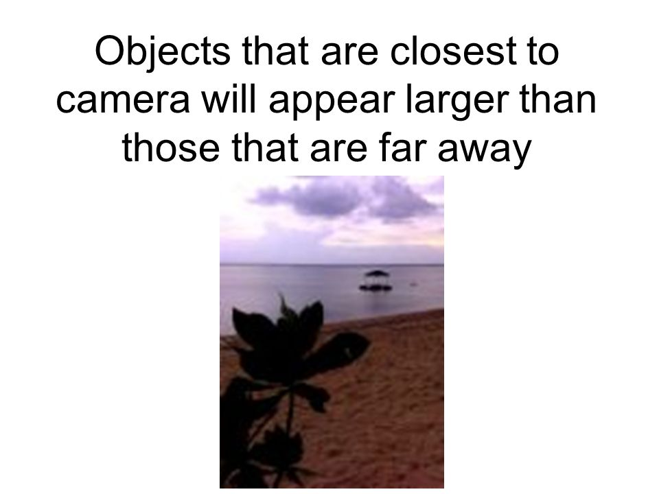Objects that are closest to camera will appear larger than those that are far away