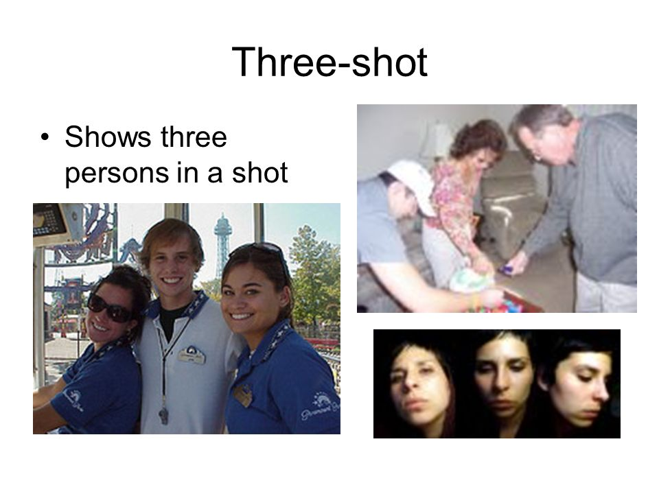 Three-shot Shows three persons in a shot
