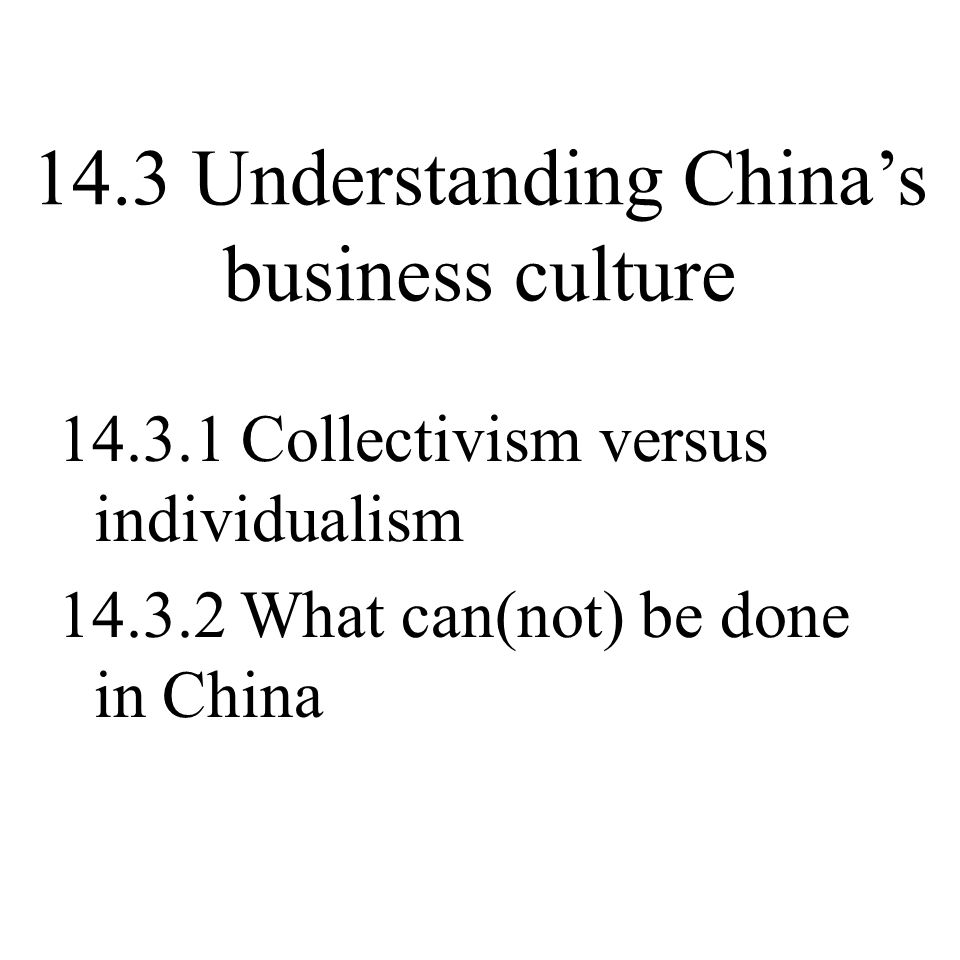 14.3 Understanding China's business culture