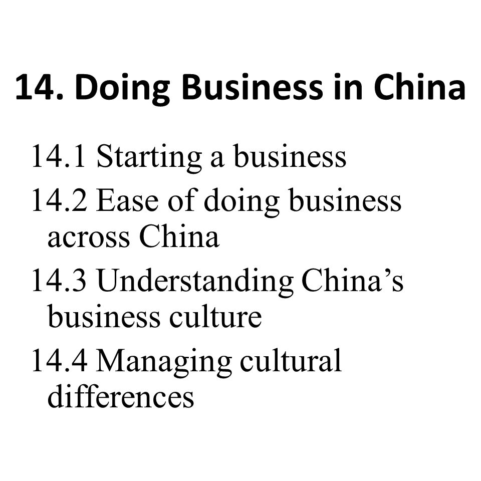 14. Doing Business in China
