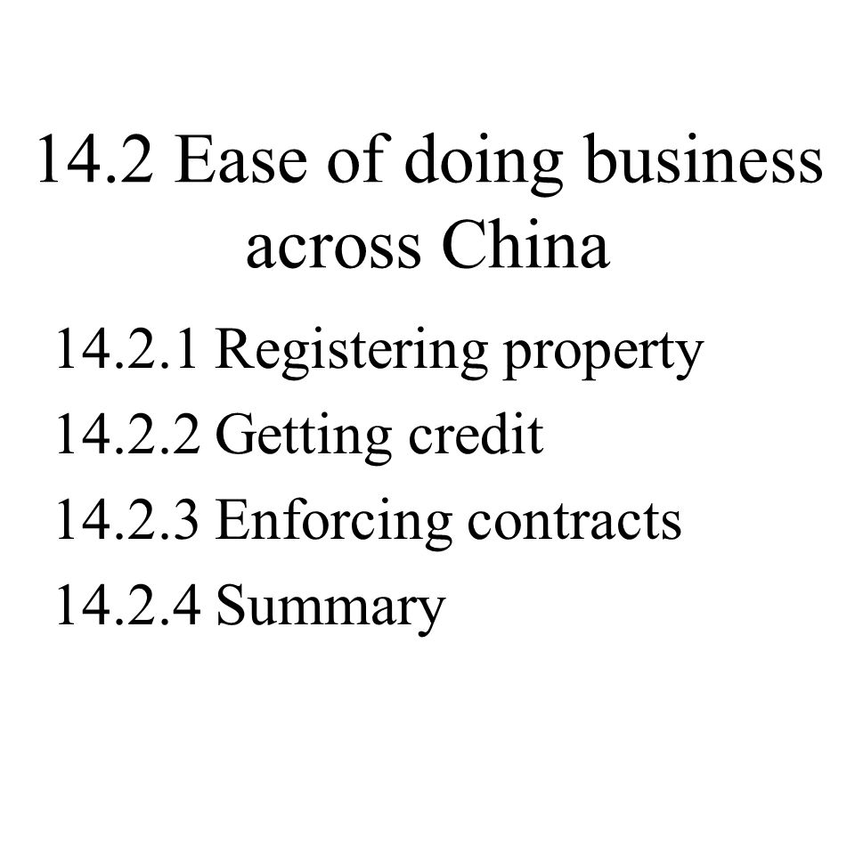 14.2 Ease of doing business across China