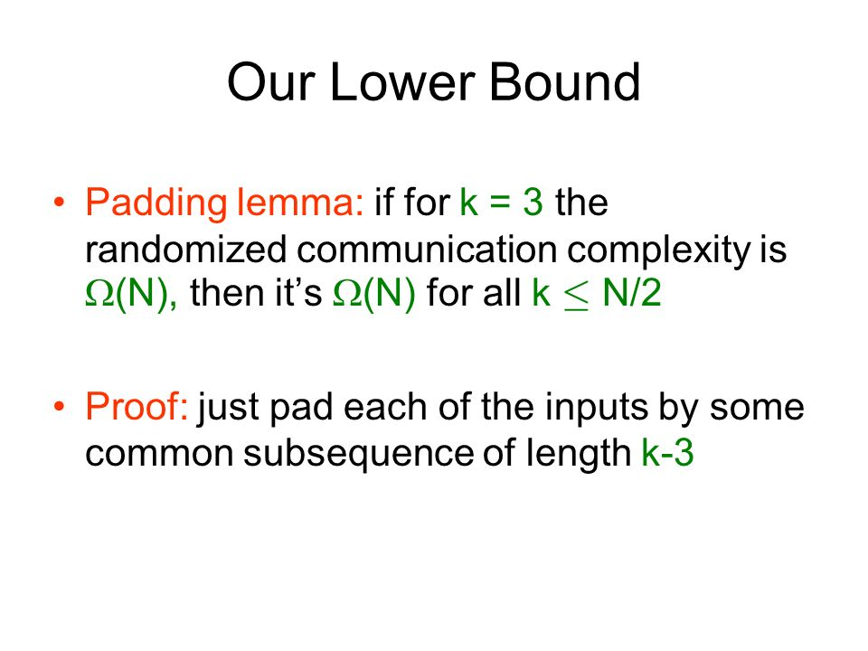 Our Lower Bound Padding lemma: if for k = 3 the randomized communication complexity is (N), then it's (N) for all k · N/2.