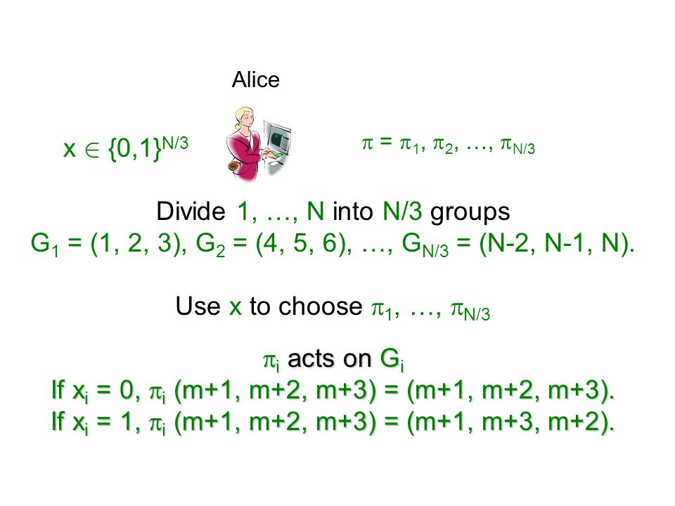 Divide 1, …, N into N/3 groups